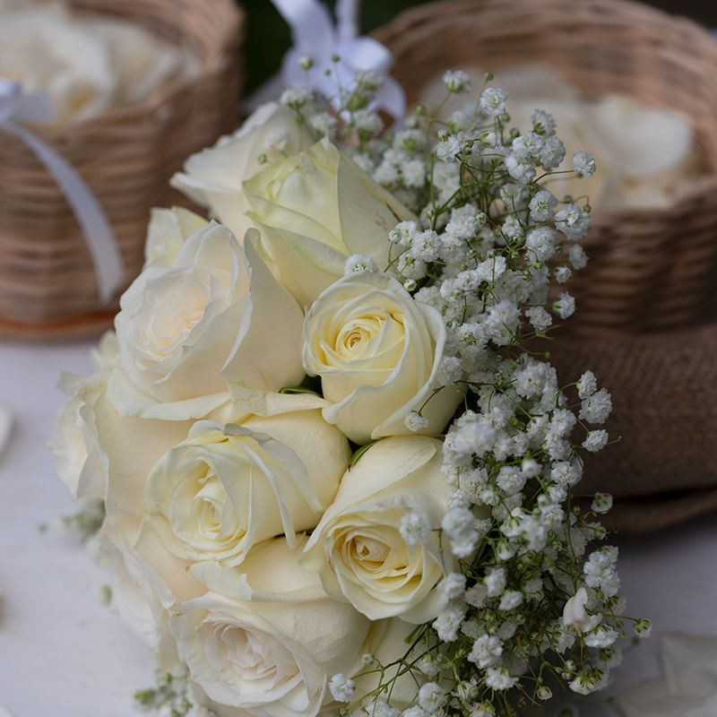 White Rose Hand Bouquet